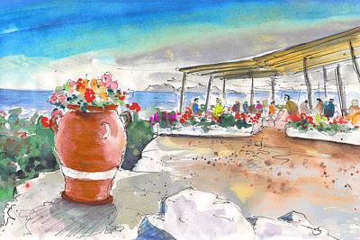 Travel Sketch Drawing - Cafe On Agios Georgios Beach by Miki De Goodaboom