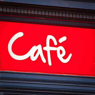 Cafe Sign Art Print by Tom Gowanlock