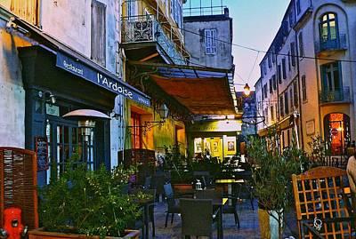Cafe Terrace On The Place Du Forum Art Print by Eric Tressler