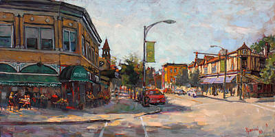 Caffe Painting - Caffe' Aroma In Elmwood Ave by Ylli Haruni