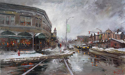 Ny Painting - Caffe Aroma In Winter by Ylli Haruni