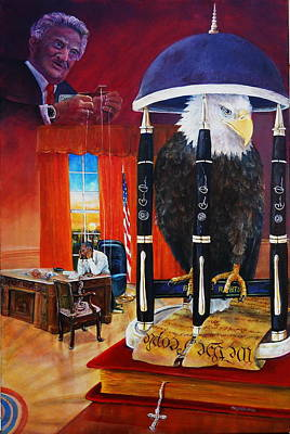 Constitution Party Painting - Caged Freedom by Leslie Hoops-Wallace