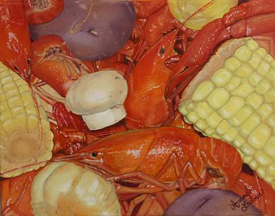 Boiled Crawfish Painting - Cajun Crawfish Boil by Amanda Ladner