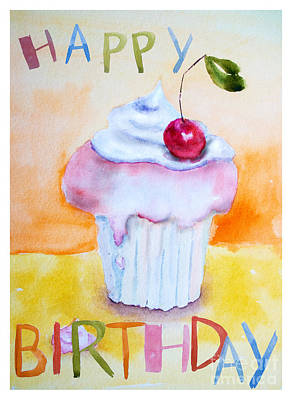 Cake With Insription Happy Birthday Art Print