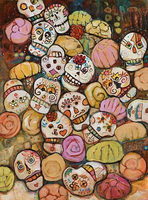 Calavera Painting - Calaveras Azucar Y Pan Dulce by Jen Norton