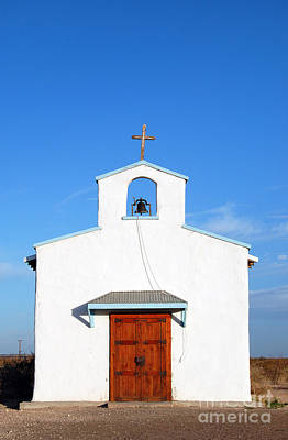 Western Themed Photograph - Calera Mission Chapel Facade In West Texas by Shawn O'Brien