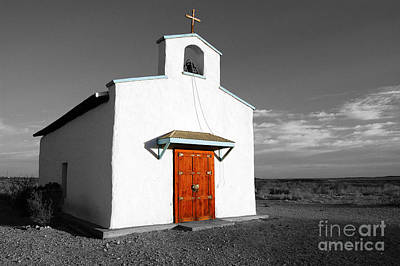 Photograph - Calera Mission Chapel In West Texas Color Splash Black And White by Shawn O'Brien
