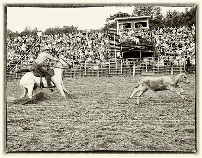 Photograph - Calf Roping by Peg Runyan