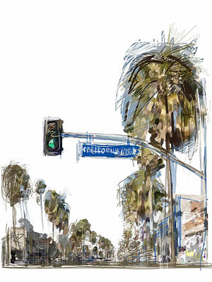 Traffic Light Mixed Media - California Ave. by Russell Pierce