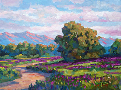 Pathway Painting - California Hills - Plein Air by David Lloyd Glover
