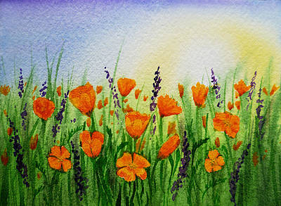 California Poppies Field Art Print by Irina Sztukowski