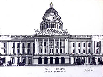 Drawing - California State Capitol by Frederic Kohli