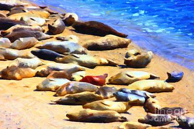 California Sunbathers . Harbor Seals Art Print by Wingsdomain Art and Photography