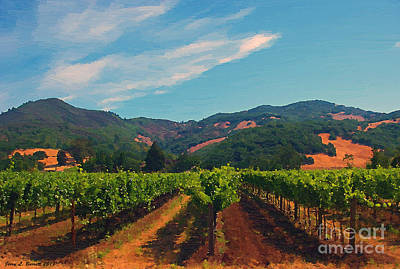 Mixed Media - California Vineyard by Jerry L Barrett