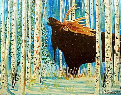 Painting - Call Of The Wild Bull Moose by Patricia L Davidson