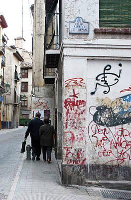 Photograph - Calle Alvaro De Bazan Graffiti by Lorraine Devon Wilke