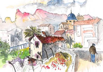 Travel Sketch Drawing - Callosa De Ensarria by Miki De Goodaboom