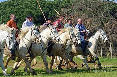 Camargue Cowboys Riding Horses Art Print by Sami Sarkis