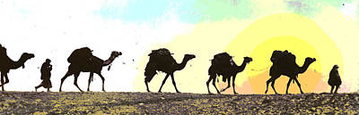 Camel Mixed Media - Camel Caravan by Charles Shoup