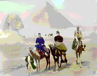 Cairo Mixed Media - Camel Ride by Charles Shoup