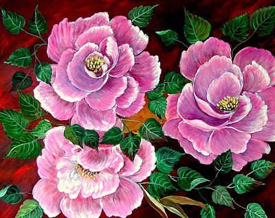 Painting - Camellias by Fram Cama