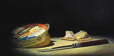 Camembert Knife And Crackers Art Print by Jeffrey Hayes