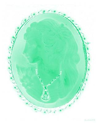 Cameo In Negative Green Art Print by Rob Hans