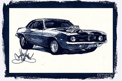 Drawing - Camero Modifications by Cheryl Poland