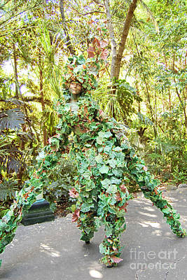 Digital Art - Camouflaged Tree Street Performer Animal Kingdom Walt Disney World Prints Accented Edges by Shawn O'Brien