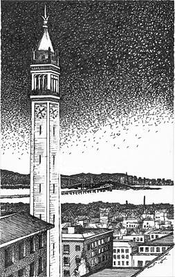 Upscale Drawing - Campanile In Berkeley California Campus by Rob M Harper