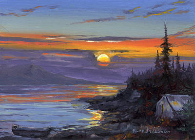 Art Print featuring the painting Campsite Sunset by Kurt Jacobson