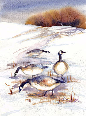 Canada Geese In Stubble Field Art Print by Peggy Wilson