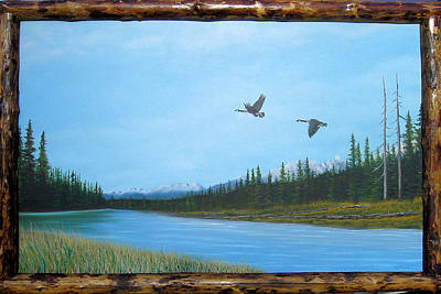 Canadian Geese On The Kootenay Art Print by William Flexhaugh