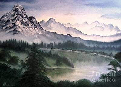 Wet On Wet Painting - Canadian Mountains by AmaS Art