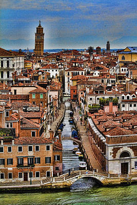 Western Art - Canal and bridges in Venice Italy by David Smith