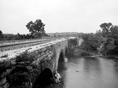 Canal Boat Passing Through An Aqueduct Art Print