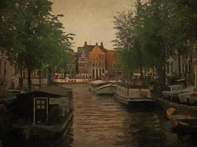 Holland Painting - Canal In Amsterdam by Nop Briex