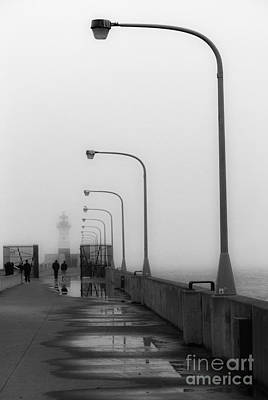Canal Park Lighthouse In Fog Art Print by Mark David Zahn