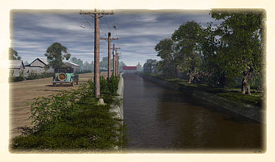 Telephone Poles Digital Art - Canal Road by Robin Meade