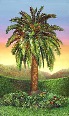 Painting - Canary Palm Tree At Dawn by Nancy Tilles