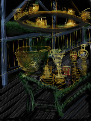 Glass Table Reflection Mixed Media - Candle Glow by Russell Pierce