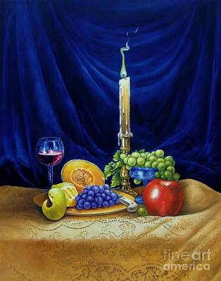 Traditional Still Life Painting - Candle Light And Wine by Gilee Barton