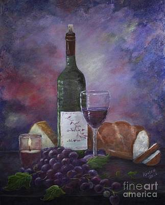 Bread And Cheese Painting - Candlelight And Wine by Marlene Kinser Bell