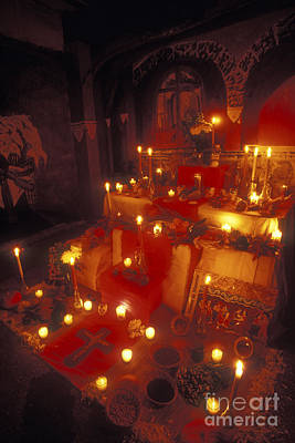 Mexico Photograph - Candlelit Mexican Day Of The Dead Altar by John  Mitchell