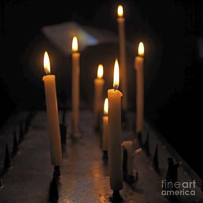 Candles Burning In A Church Art Print