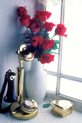 Candlestick Phone In Window Art Print by Garry Gay