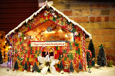 Candy Photograph - Candy Gingerbread House by Marilyn Hunt