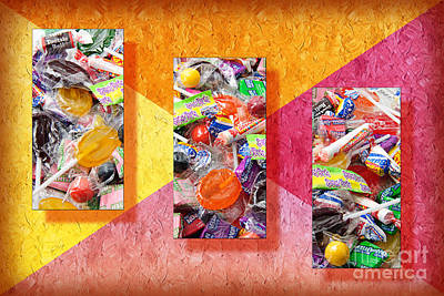 Snack Mixed Media - Candy Is Dandy Triptych by Andee Design