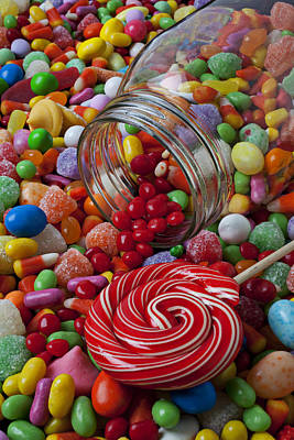 Candy Jar Photograph - Candy Jar Spilling Candy by Garry Gay