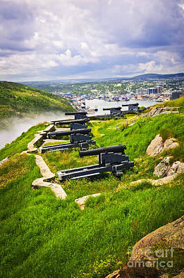Cannons On Signal Hill Near St. John's Art Print by Elena Elisseeva